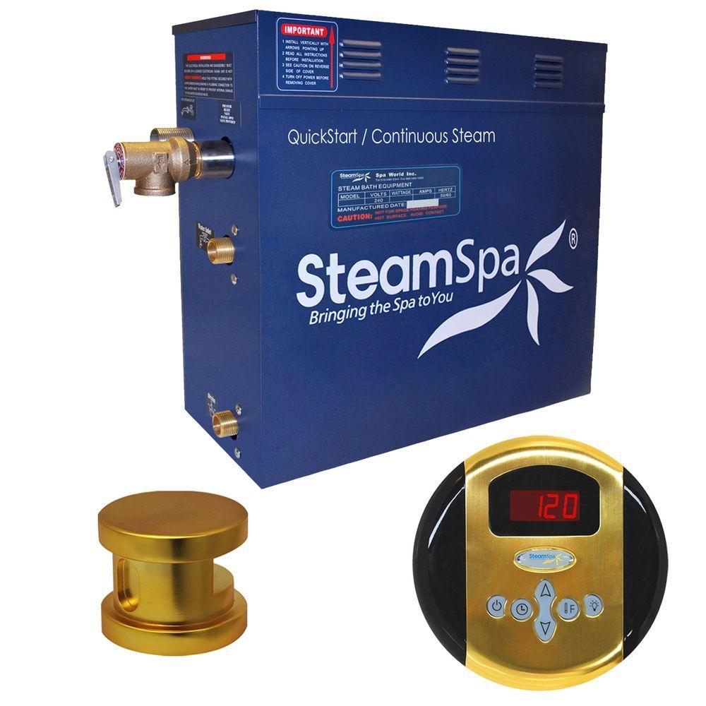 Oasis 6kW Steam Bath Generator Package in Polished Brass