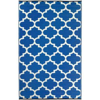 Tangier Indoor/Outdoor Regatta Blue and White 8 ft. x 10 ft. Area Rug