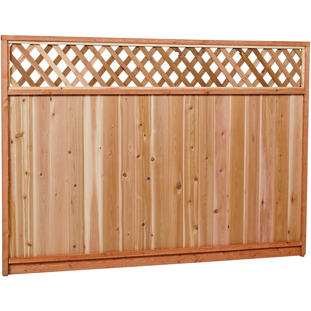 6 Ft X 8 Ft Premium Cedar Lattice Top Fence Panel With Stained Spf Frame Actual Size 68 3 8 In H X 96 In W 6x8ltp The Home Depot