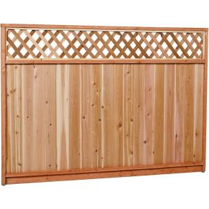 Premium Cedar Lattice Top Fence Panel With Stained Spf Frame Actual Size 68 3 8 In H X 96 W 6x8ltp The Home Depot