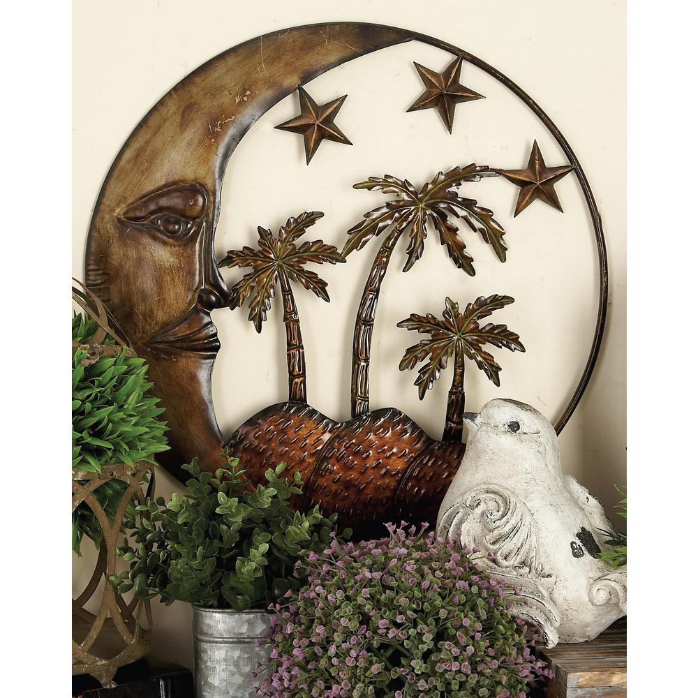 21 in. Global Inspired Copper-Finished Iron Celestial Bodies Wall Decor