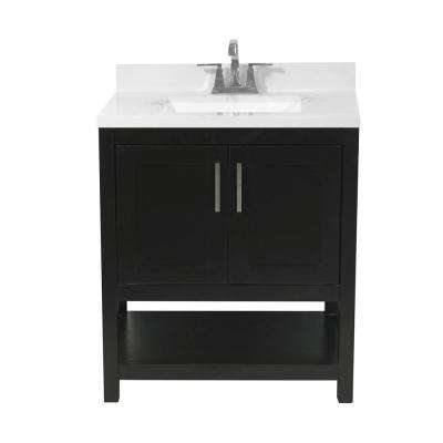 Tufino 31 in. Bath Vanity in Espresso with Cultured Marble Vanity Top w/ Backsplash in Carrara White with White Basin