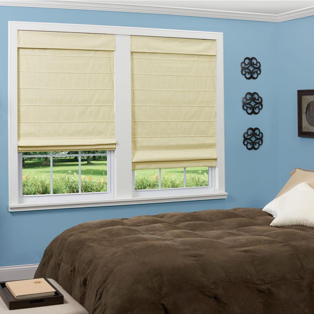homeBASICS Natural Linen-Look Thermal Blackout Fabric Roman Shade - 35 in. W x 64 in. L