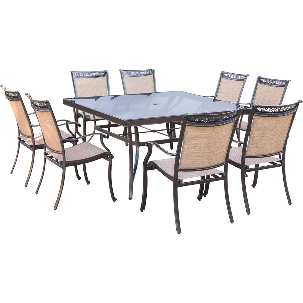 Hanover fontana 9 piece aluminum square outdoor dining set for Jardin 8 piece dining set