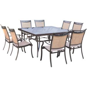 Hanover Fontana 9-Piece Aluminum Square Outdoor Dining Set with Glass-Top Table by Hanover