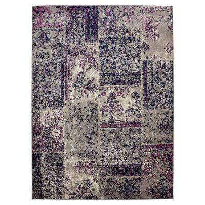Jasmin Collection Damask Patchwork Gray and Purple 7 ft. 10 in. x 9 ft. 10 in. Area Rug
