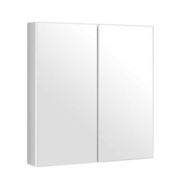 24.5 in. W Wall-Mounted Storage Wall Cabinet with Double Mirror Doors in White