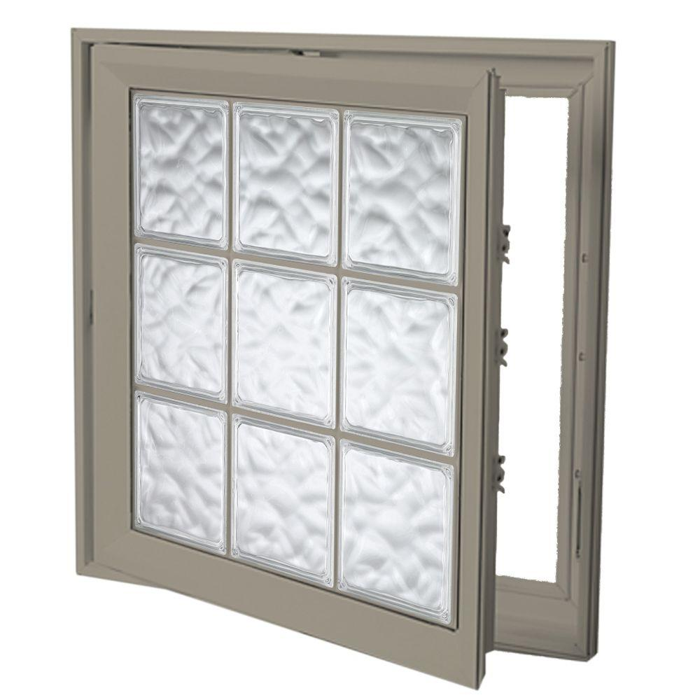 Hy-Lite 21 in. x 45 in. Acrylic Block Right Casement Vinyl Window - Tan