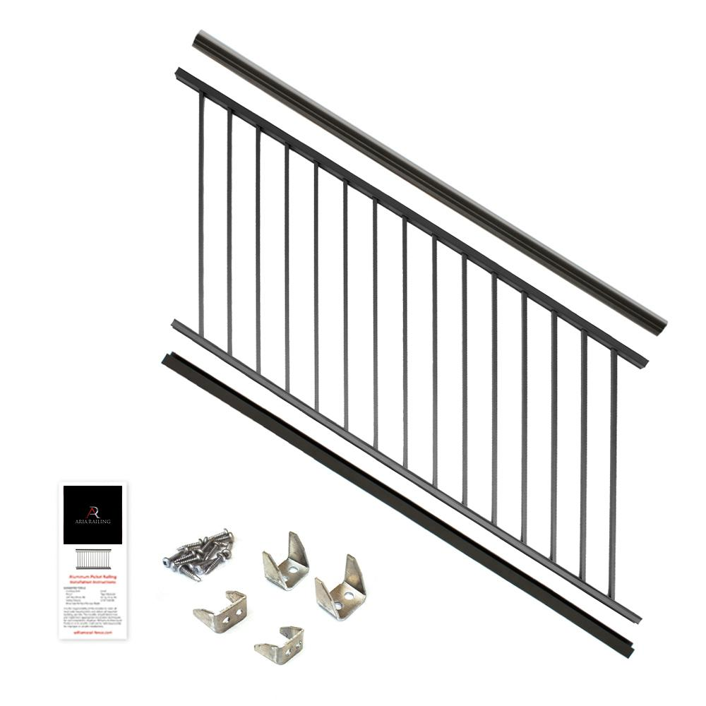 36 in. x 6 ft. Black Powder Coated Aluminum Preassembled Deck