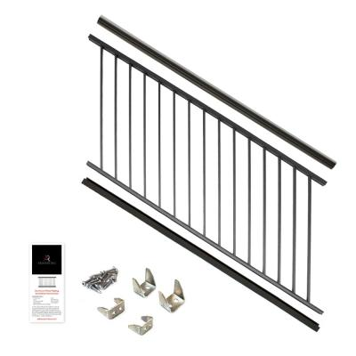 36 in. x 6 ft. Black Powder Coated Aluminum Preassembled Deck Stair Railing