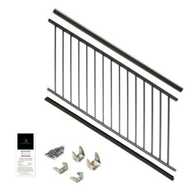 36 in  x 6 ft  Black Powder Coated Aluminum Preassembled Deck Stair Railing