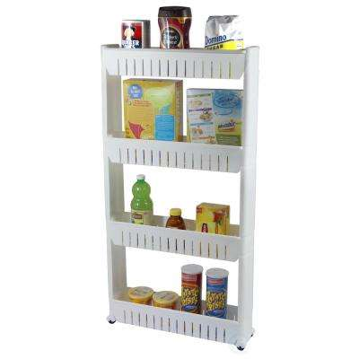 20 in. x 40 in. Plastic Slim Storage Cabinet Organizer 4-Shelf Rolling Pull Out Cart Rack Tower with Wheels