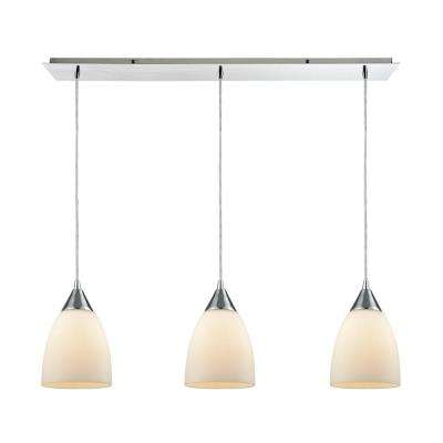 Merida 3-Light Linear Pan in Polished Chrome with Opal White Linen Glass Pendant