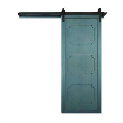 42 in. x 84 in. The Harlow III Caribbean Wood Barn Door with Sliding Door Hardware Kit