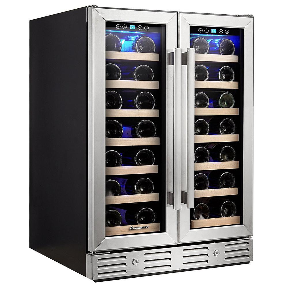 Kalamera 24 in. Built-in Dual Zone 40-Bottle Wine Cooler