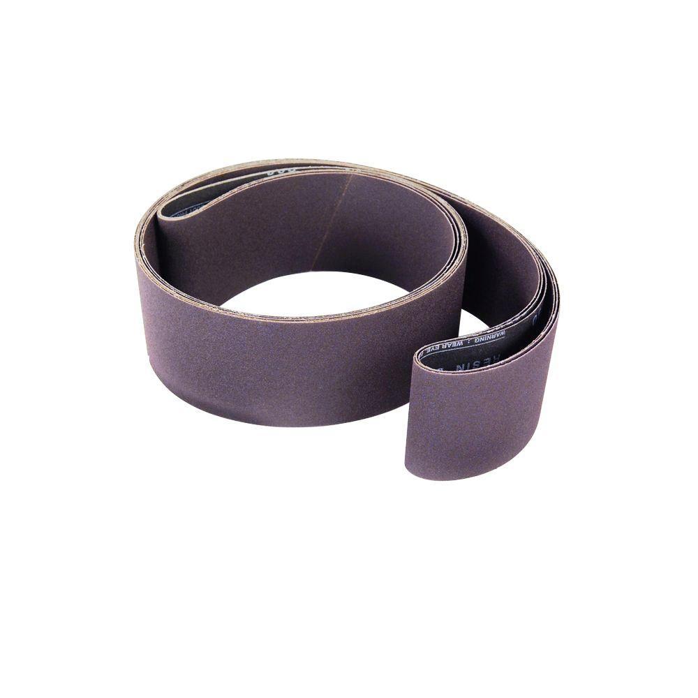 4 in. x 24 in. 80-Grit Aluminum Oxide Sanding Belt (5-Pack)