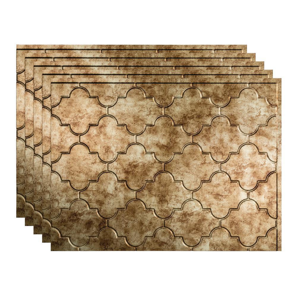 Fasade Monaco 18 In X 24 In Bermuda Bronze Vinyl Decorative Wall Tile Backsplash 15 Sq Ft Kit N68 17 The Home Depot