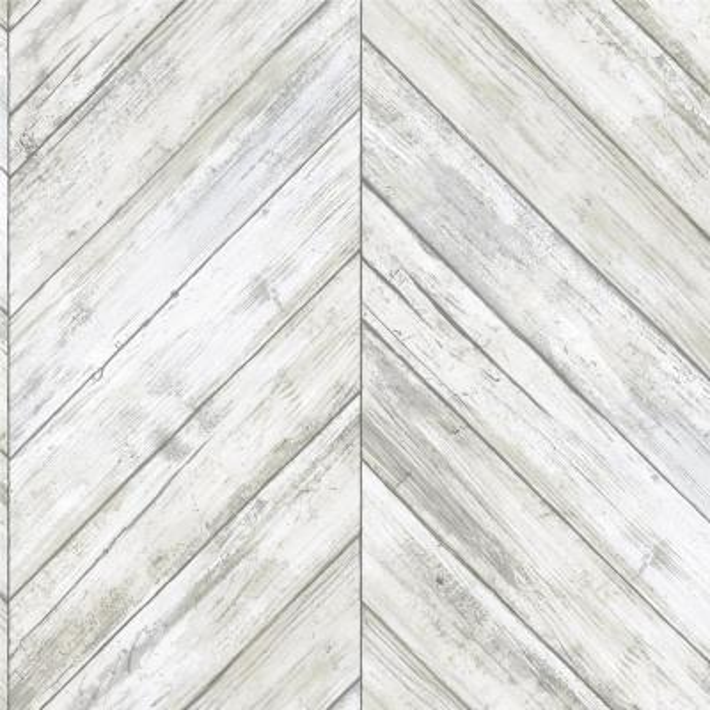 Herringbone Wood Boards White, Tan Vinyl Peelable Roll (Covers 28.18 sq. ft.)