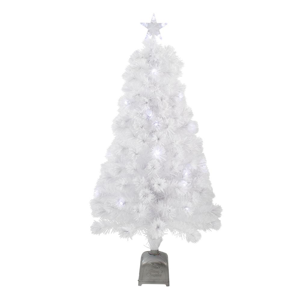 Northlight 4 Ft Pre Lit Led Color Changing White Fiber Optic Artificial Christmas Tree