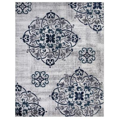 Jasmin Collection Contemporary Medallion Design Ivory and Navy 7 ft. 8 in. x 9 ft. 8 in. Area Rug