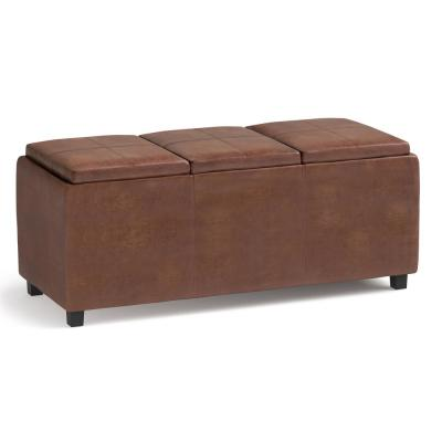 Lincoln Distressed Saddle Brown Storage Ottoman