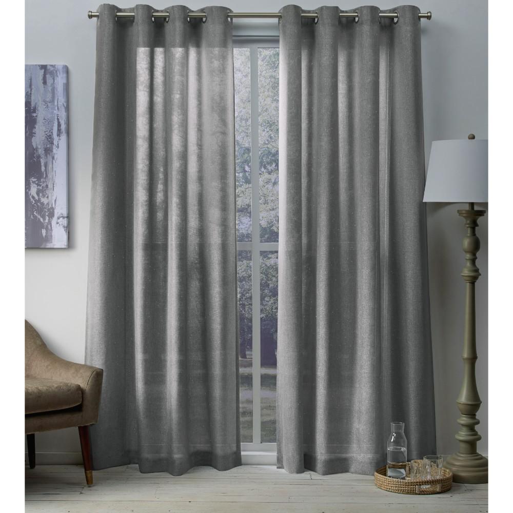 Sparkles 54 In W X 84 L Metallic Fleck Grommet Top Curtain Panel Black Pearl 2 Panels EH8197 04 84G