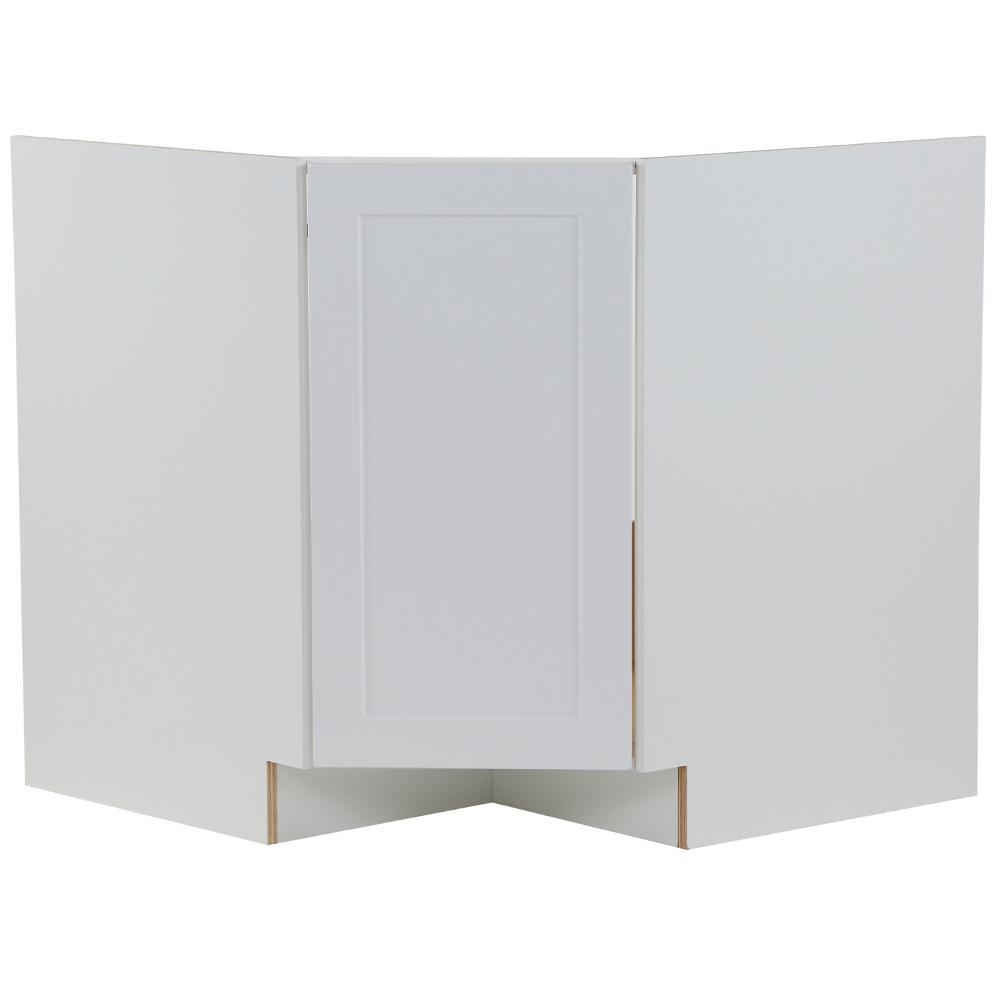 Hampton Bay Cambridge Shaker Ready To Assemble 36x34 5x24 5 In Corner Sink Base Cabinet W 1 Soft Close Door In White Cm3635c Wh The Home Depot