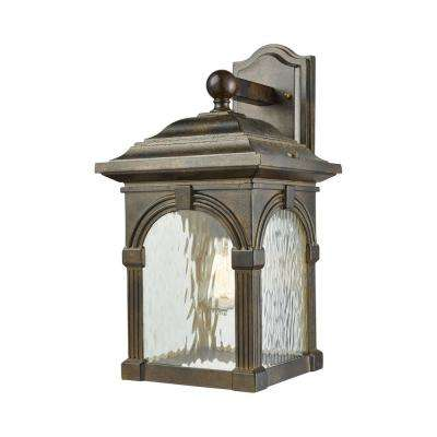 Stradelli Large 1-Light Hazelnut Bronze with Clear Water Glass Outdoor Wall Mount Sconce