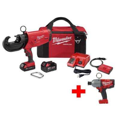 M18 18-Volt Lithium-Ion Cordless FORCE LOGIC 12 Ton Utility Crimper with Free 7/16 in. Hex High Torque Impact Wrench