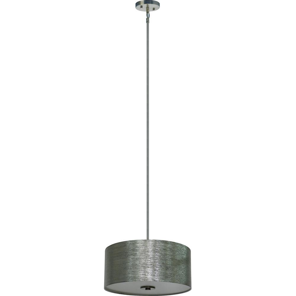 Illumine 3 Light Satin Steel Chandelier With Starlight Weave Fabric Shade