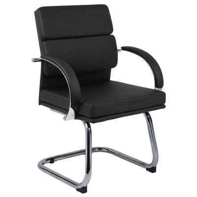 Designer Leather Guest Chair. Black Leather. Chrome Finish Frame. Padded Arms. Floor Glides