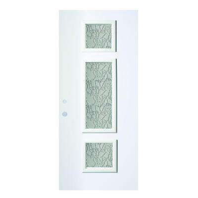 37.375 in. x 82.375 in. Marjorie Delta Satin 3 Lite Painted White Right-Hand Inswing Steel Prehung Front Door