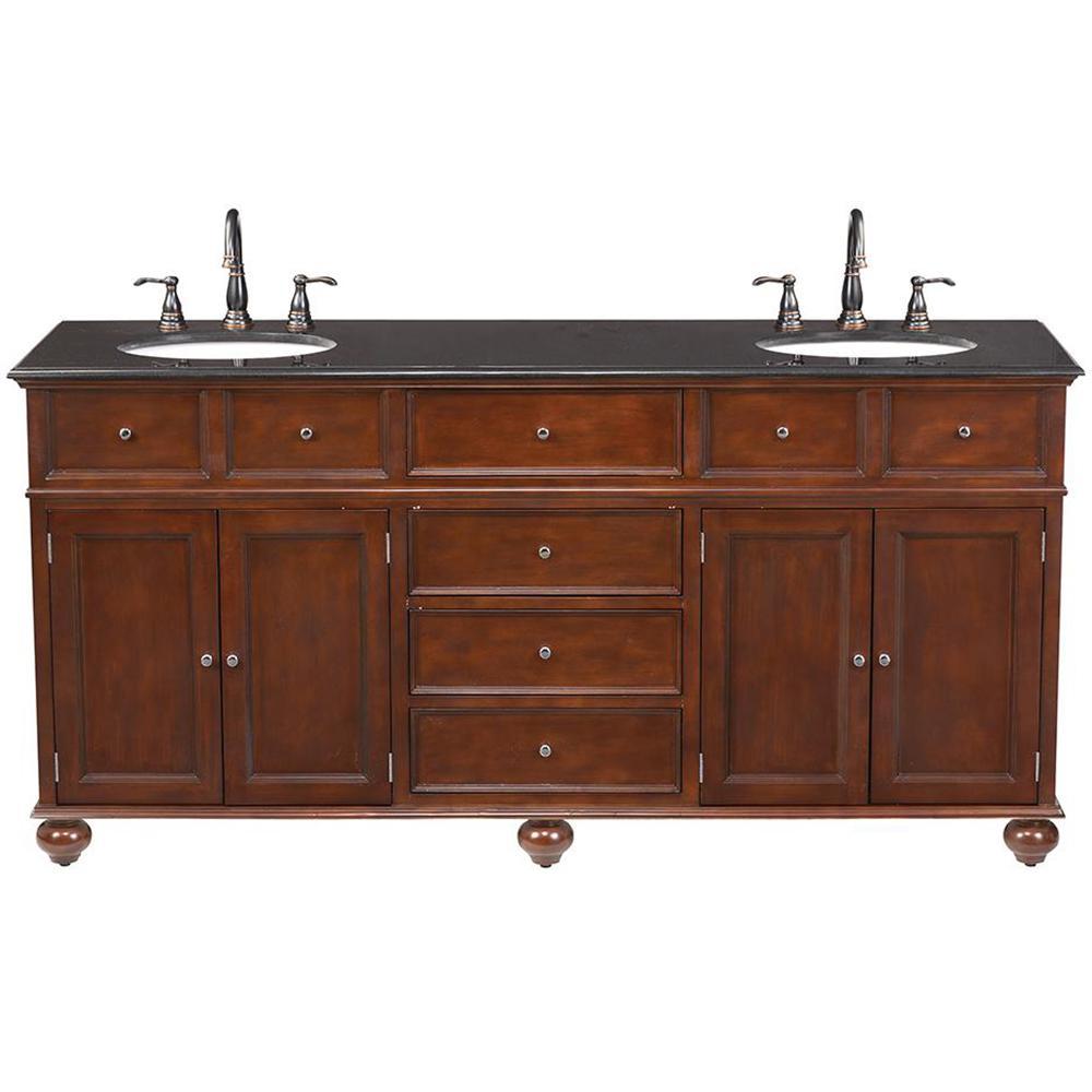Home Decorators Collection Hampton Harbor 72 in. W x 22 in. D Double Bath Vanity in Sequoia with Granite Vanity Top in Black