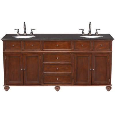 Hampton Harbor 72 in. W x 22 in. D Double Bath Vanity in Sequoia with Granite Vanity Top in Black
