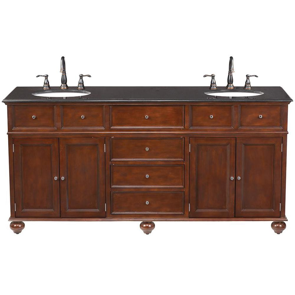 Home Decorators Collection Chelsea 22 In W Bath Vanity In Antique Cherry With Granite Vanity