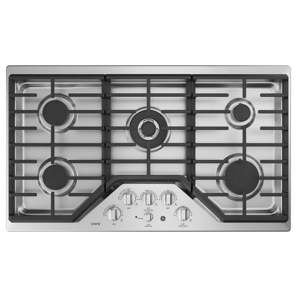 Cafe 36 in. Deep Recessed Gas Cooktop in Stainless Steel with