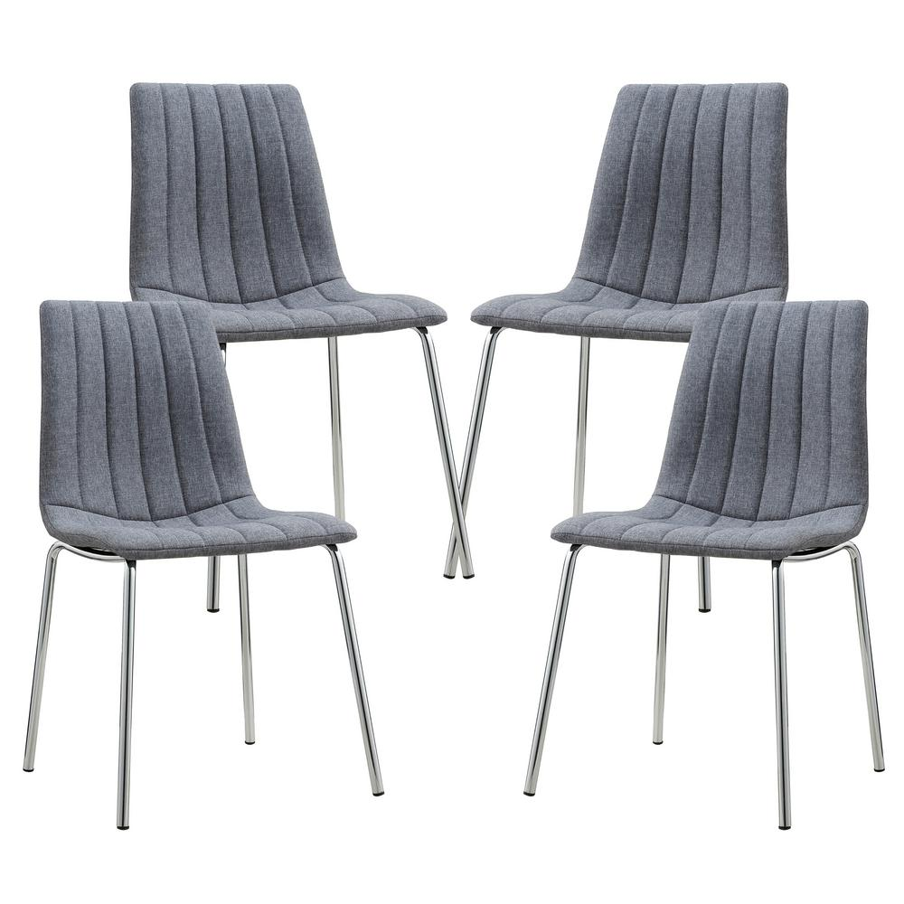 Amazing Poly And Bark Pierce Gray Fabric Side Chair (Set Of 4)