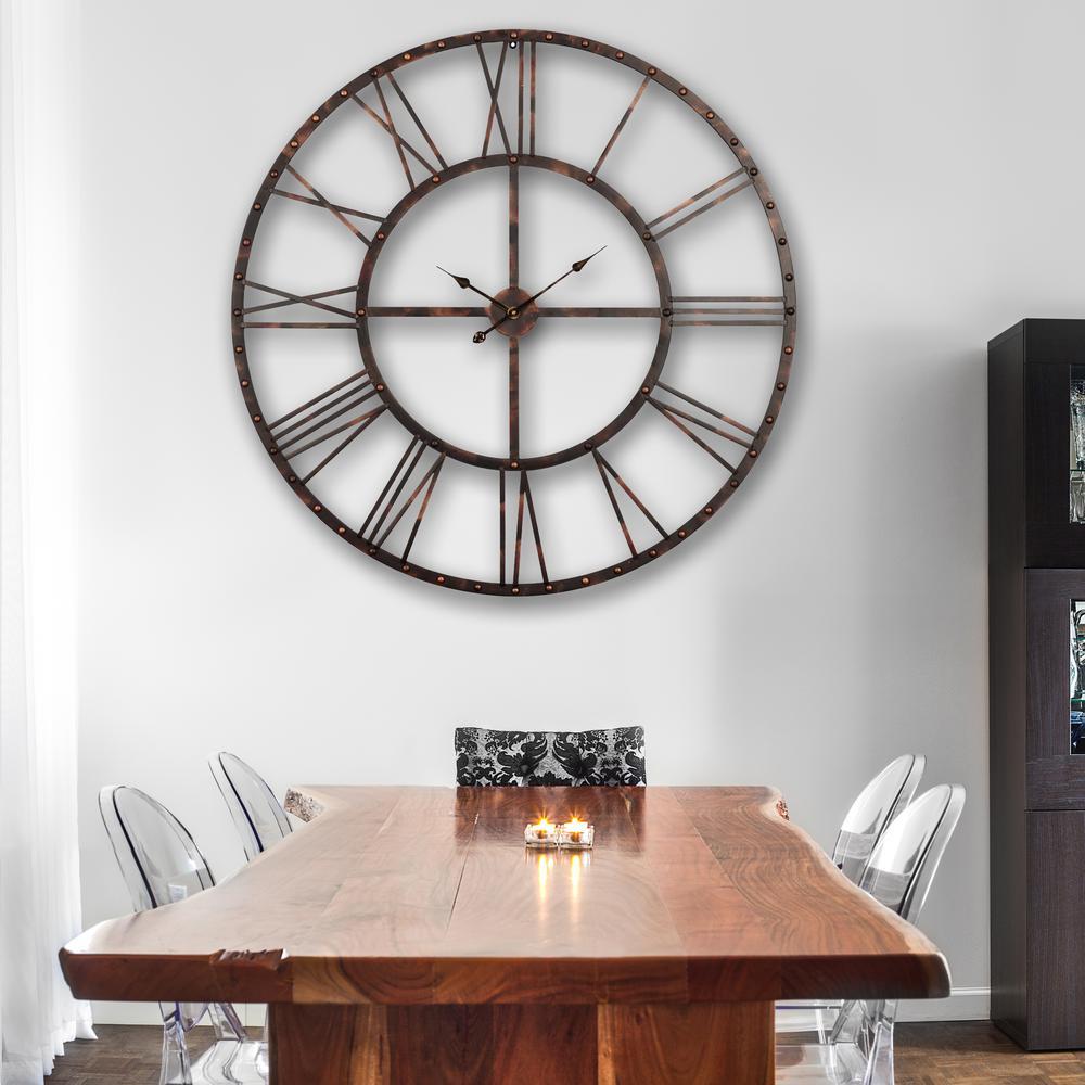 Rivet Roman 45 in. Distressed Bronze Oversize Wall Clock