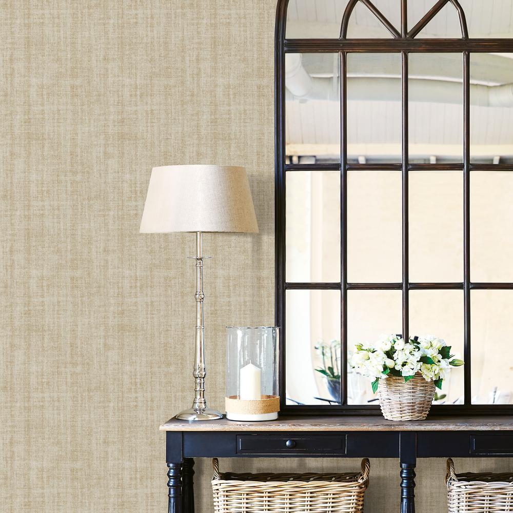 WallPOPs Ramie Linen Neutral Peel and Stick Wallpaper ...