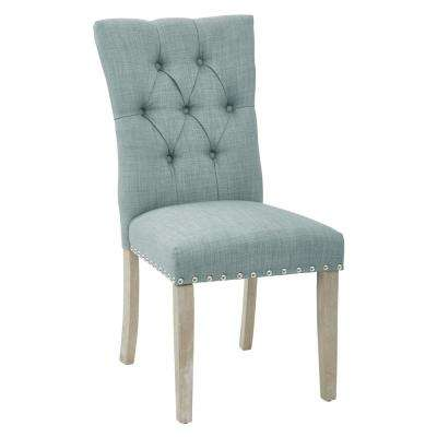 Preston Dining Chair in Marlow Bluebird Fabric with Silver Nailheads and Brushed Legs