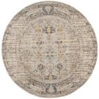 Monaco Gray/Multi 5 ft. x 5 ft. Round Area Rug