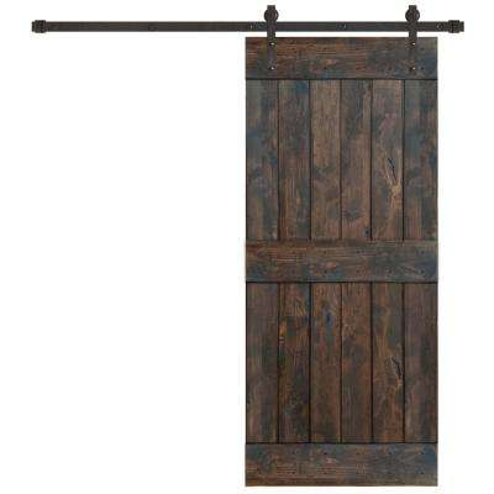 36 in. x 84 in. Rustic Espresso 2 Panel Knotty Alder Barn Door Kit with Oil Rubbed Bronze Sliding Door Hardware Kit
