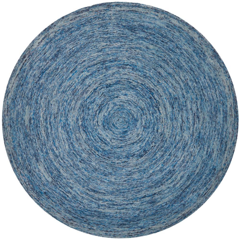 Ikat Dark Blue/Multi 8 ft. x 8 ft. Round Area Rug