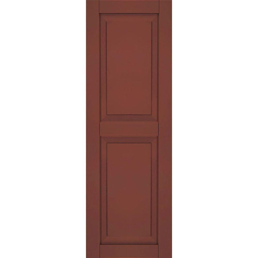 Ekena Millwork 15 in. x 75 in. Exterior Composite Wood Raised Panel Shutters Pair Country Redwood