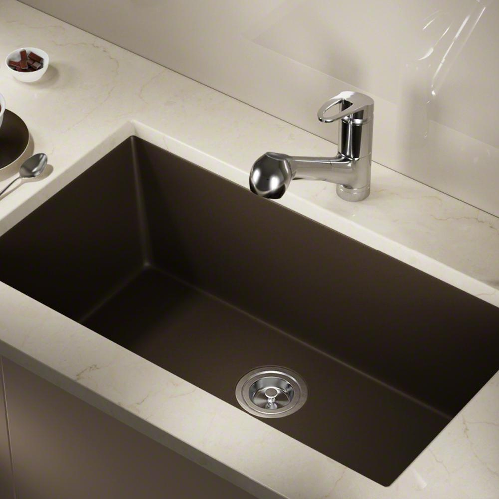 MR Direct Undermount Quartz 32.625 in. 0-Hole Single Bowl Kitchen Sink in  Mocha