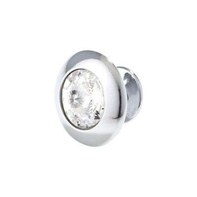 Italian Designs 1.18 in. Bright Chrome Round Crystal Cabinet Knob
