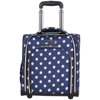 Albany Park 16 in. Navy/White Polka Dot Printed 2-Wheel Underseater Carry-On Luggage