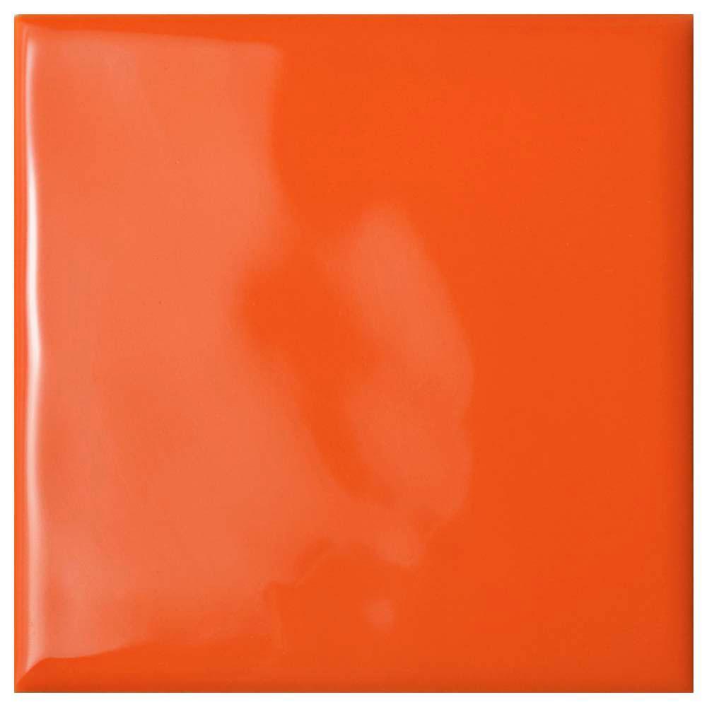 Twist Square Orange Sunset 3-3/4 in. x 3-3/4 in. Ceramic Wall Tile