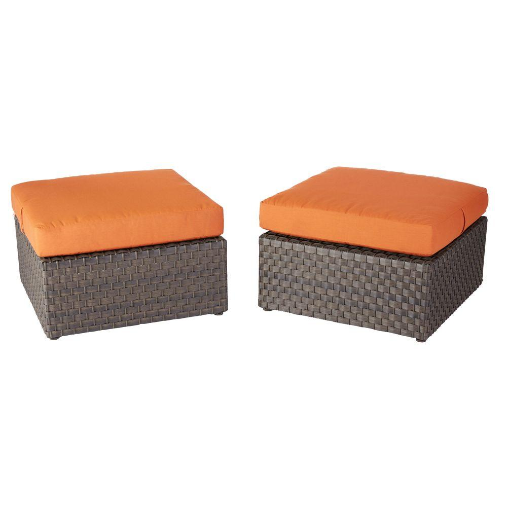 Moreno Valley Cushioned Patio Ottomans in Sunbrella Canvas Rust (2-Pack)