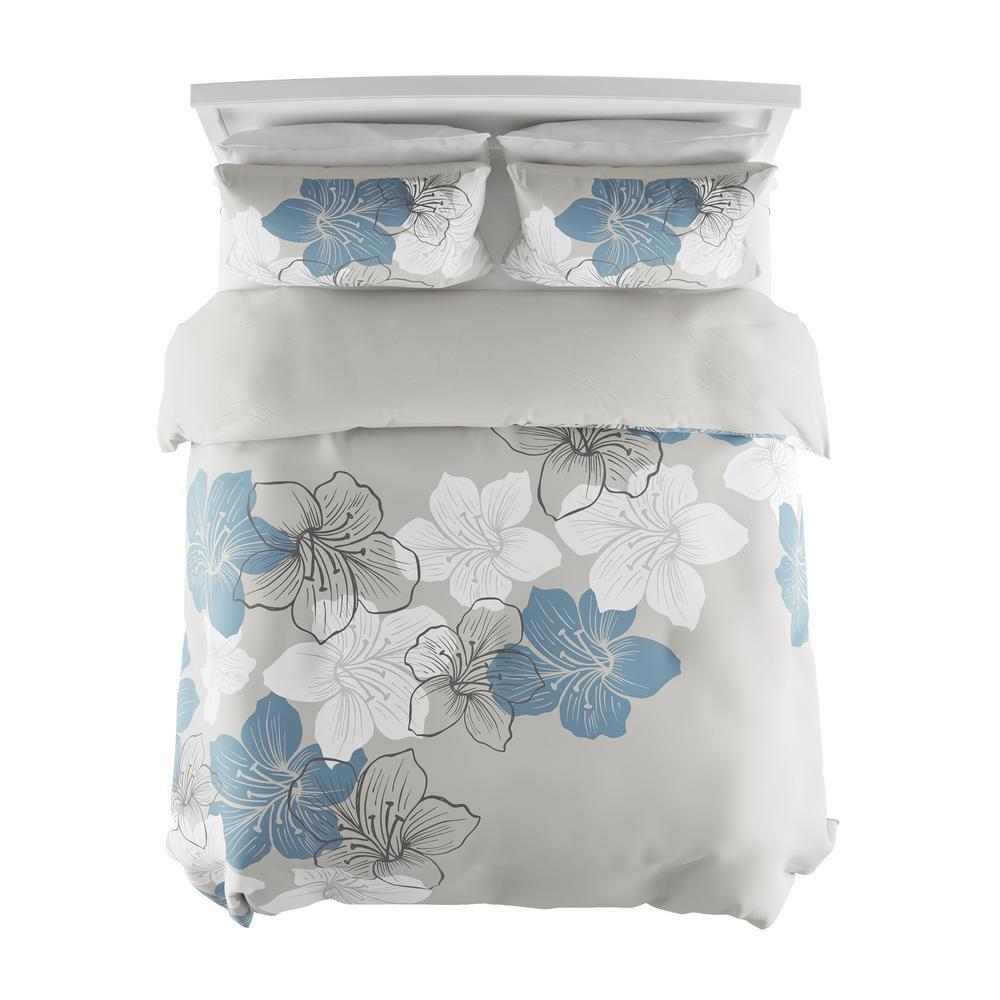 3-Piece Enchanted Floral Design Full/Queen Hypoallergenic Comforter Set